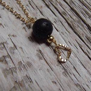 Lava Diffuser Necklace Essential Oil Gold Necklace